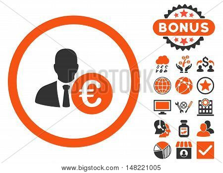 Euro Banker icon with bonus pictures. Vector illustration style is flat iconic bicolor symbols, orange and gray colors, white background.