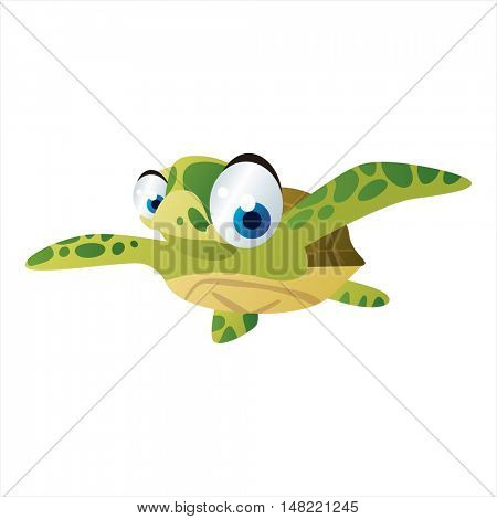 vector cartoon cute animal mascot. Funny colorful cool illustration of happy Turtle