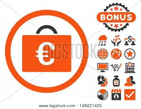Euro Bookkeeping Case icon with bonus design elements. Vector illustration style is flat iconic bicolor symbols, orange and gray colors, white background.