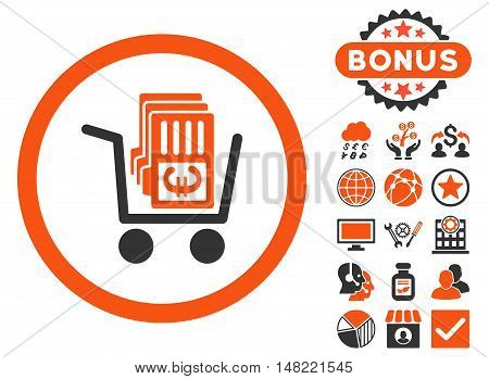 Euro Cash Out icon with bonus pictogram. Vector illustration style is flat iconic bicolor symbols, orange and gray colors, white background.