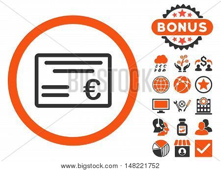 Euro Cheque icon with bonus pictogram. Vector illustration style is flat iconic bicolor symbols, orange and gray colors, white background.