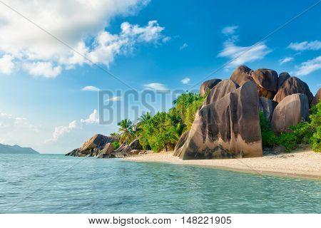 tropical anse source d'argent beach on la digue island seychelles