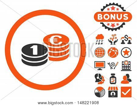 Euro Coin Columns icon with bonus elements. Vector illustration style is flat iconic bicolor symbols, orange and gray colors, white background.