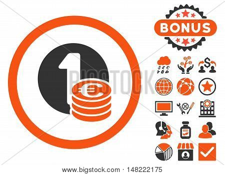 Euro Coins icon with bonus pictogram. Vector illustration style is flat iconic bicolor symbols, orange and gray colors, white background.