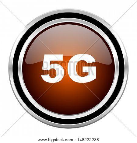 5g round circle glossy metallic chrome web icon isolated on white background