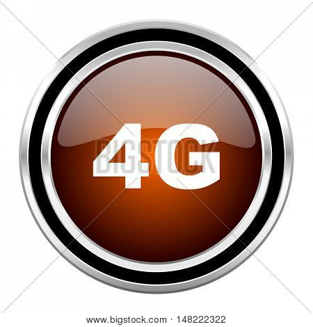 4g round circle glossy metallic chrome web icon isolated on white background