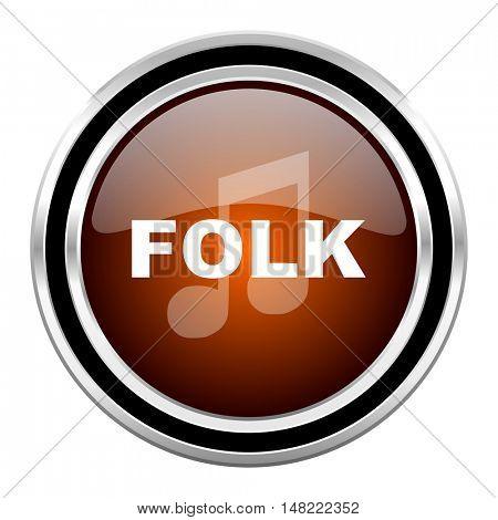 folk music round circle glossy metallic chrome web icon isolated on white background