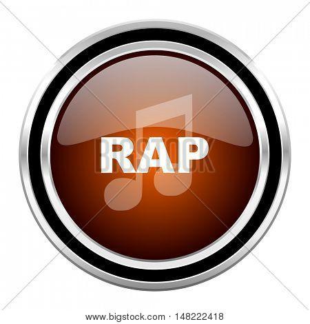 rap music round circle glossy metallic chrome web icon isolated on white background