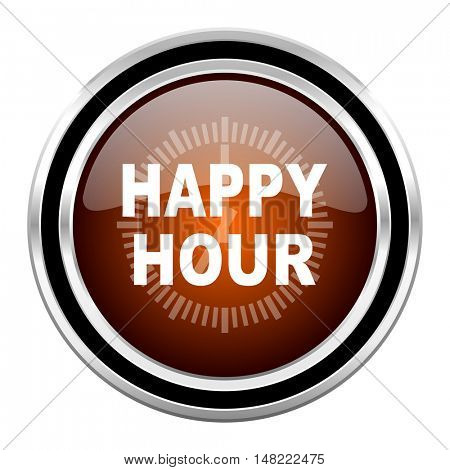 happy hour round circle glossy metallic chrome web icon isolated on white background