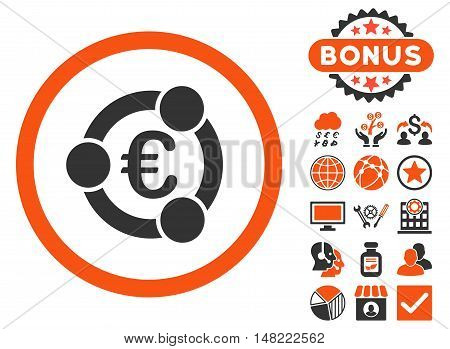 Euro Collaboration icon with bonus pictures. Vector illustration style is flat iconic bicolor symbols, orange and gray colors, white background.