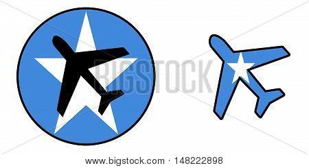 Nation Flag - Airplane Isolated - Somalia
