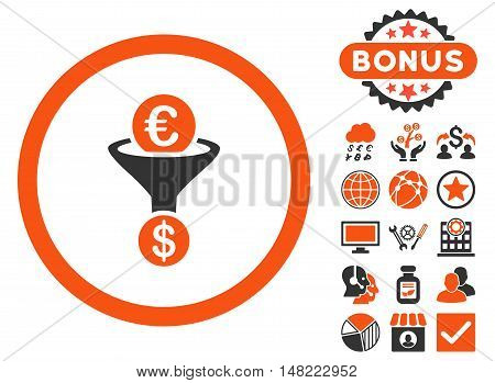 Euro Dollar Conversion Funnel icon with bonus pictogram. Vector illustration style is flat iconic bicolor symbols, orange and gray colors, white background.