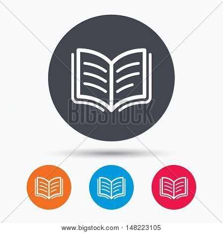 Book icon. Study literature sign. Education textbook symbol. Colored circle buttons with flat web icon. Vector