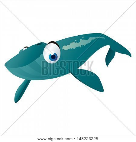 vector cartoon cute animal mascot. Funny colorful cool illustration of happy Whale