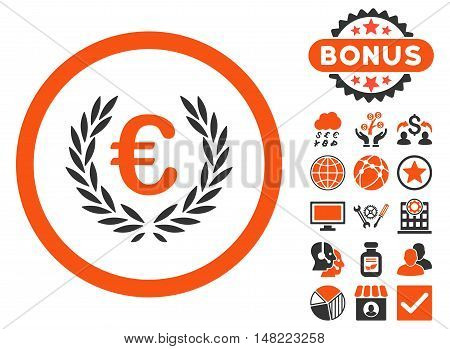 Euro Glory icon with bonus elements. Vector illustration style is flat iconic bicolor symbols, orange and gray colors, white background.