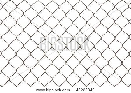 Iron wire fence isolated on a white background