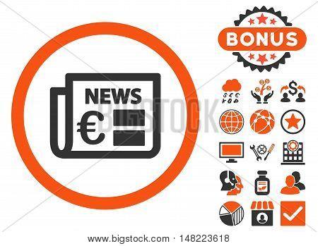 Euro Newspaper icon with bonus symbols. Vector illustration style is flat iconic bicolor symbols, orange and gray colors, white background.
