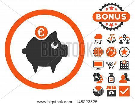 Euro Piggy Bank icon with bonus pictogram. Vector illustration style is flat iconic bicolor symbols, orange and gray colors, white background.