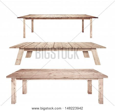 Brown vintage wooden kitchen tables are isolated white background.