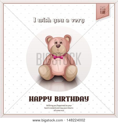 Happy birthday greeting card with pink teddy bear.
