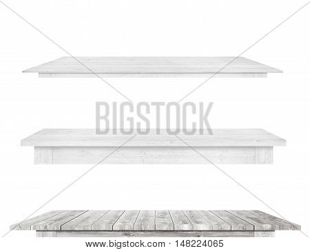 Grey vintage wooden kitchen table tops are isolated white background.