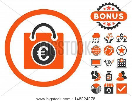 Euro Shopping Bag icon with bonus pictogram. Vector illustration style is flat iconic bicolor symbols, orange and gray colors, white background.