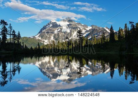 Perfection Picture lake and mount Shuksan, Washington,summer season.Evening.
