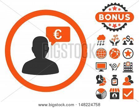 European Person Opinion icon with bonus elements. Vector illustration style is flat iconic bicolor symbols, orange and gray colors, white background.