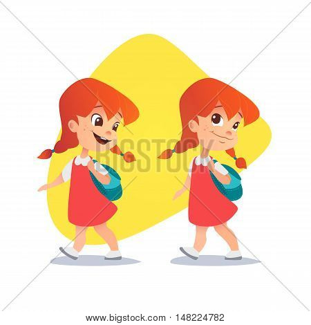 Funny red-haired little girl going with a backpack. Vector illustration. Smiling little girl going to school.