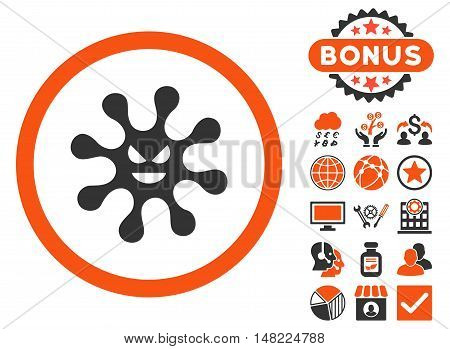 Evil Bacteria icon with bonus elements. Vector illustration style is flat iconic bicolor symbols, orange and gray colors, white background.