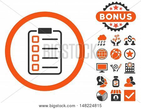 Examination icon with bonus pictures. Vector illustration style is flat iconic bicolor symbols, orange and gray colors, white background.