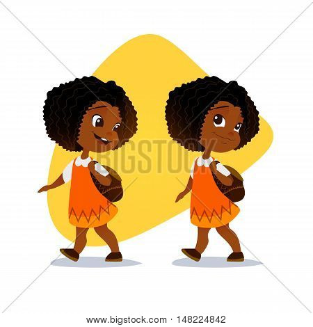 Funny afro american little girl going with a backpack. Vector illustration. Smiling little girl going to school.