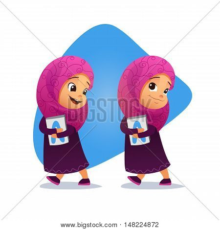 Funny Muslim little girl going with a book. Vector illustration. Smiling little girl going to school.