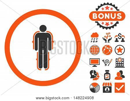 Exoskeleton icon with bonus elements. Vector illustration style is flat iconic bicolor symbols, orange and gray colors, white background.