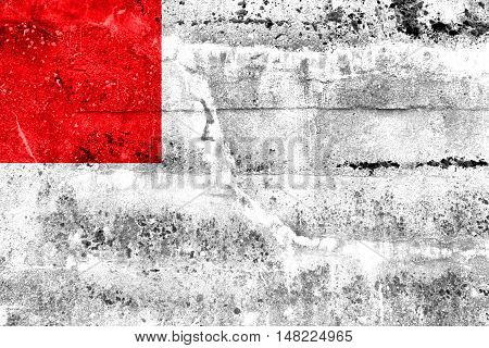 Flag Of Bilbao, Spain, Painted On Dirty Wall