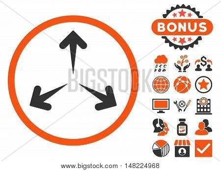 Expand Arrows icon with bonus symbols. Vector illustration style is flat iconic bicolor symbols, orange and gray colors, white background.