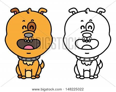 funny dog. Vector illustration coloring page of happy cartoon dog for children, coloring and scrap book