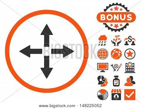 Expand Arrows icon with bonus pictogram. Vector illustration style is flat iconic bicolor symbols, orange and gray colors, white background.