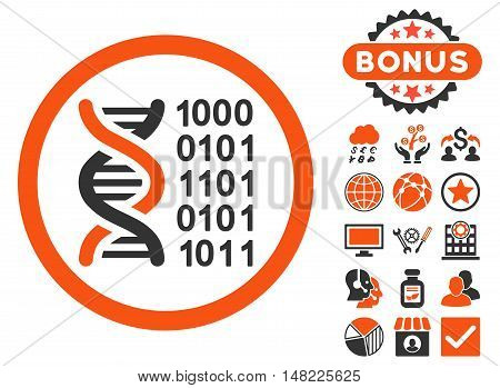 Genetical Code icon with bonus elements. Vector illustration style is flat iconic bicolor symbols, orange and gray colors, white background.