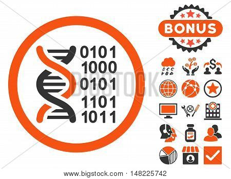Genome Code icon with bonus images. Vector illustration style is flat iconic bicolor symbols, orange and gray colors, white background.