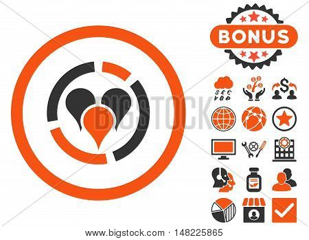 Geo Diagram icon with bonus images. Vector illustration style is flat iconic bicolor symbols, orange and gray colors, white background.