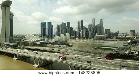 Singapore Skyline Aerial View with clouds in the sky