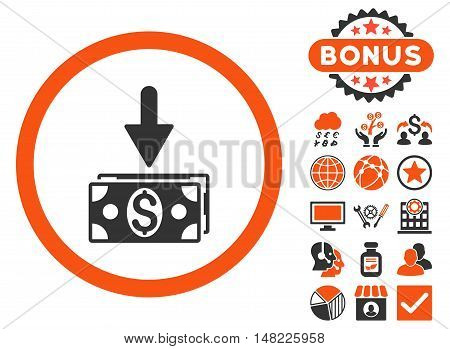Get Dollar Banknotes icon with bonus elements. Vector illustration style is flat iconic bicolor symbols, orange and gray colors, white background.