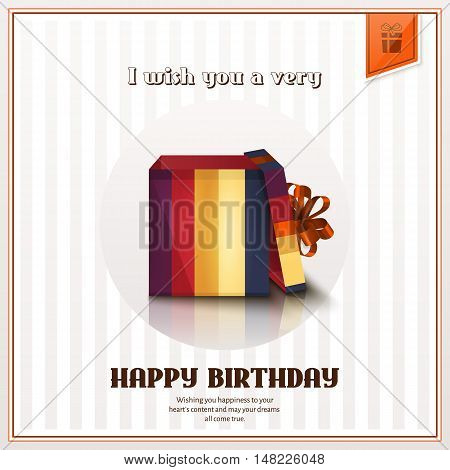 Happy birthday greeting card with open gift box and orange bow.