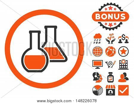 Glass Flasks icon with bonus design elements. Vector illustration style is flat iconic bicolor symbols, orange and gray colors, white background.