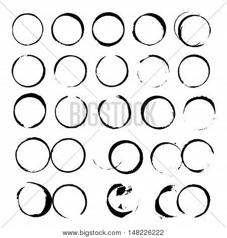 Set Of Abstract Vector Black Wine Stain Circles On White Background
