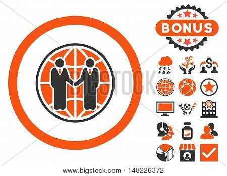 Global Partnership icon with bonus design elements. Vector illustration style is flat iconic bicolor symbols, orange and gray colors, white background.