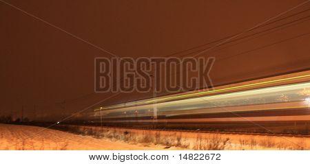 Speeding train in fog