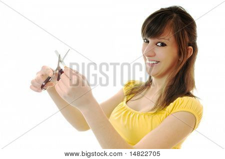 woman isolated on white stop smoking cigarette