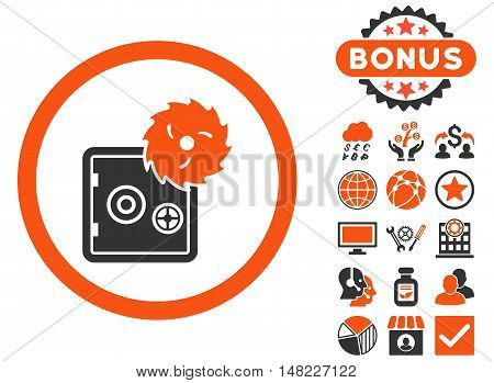 Hacking Theft icon with bonus images. Vector illustration style is flat iconic bicolor symbols, orange and gray colors, white background.